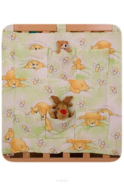 Teddies and bees in green(NATIBABY hanging pocket)
