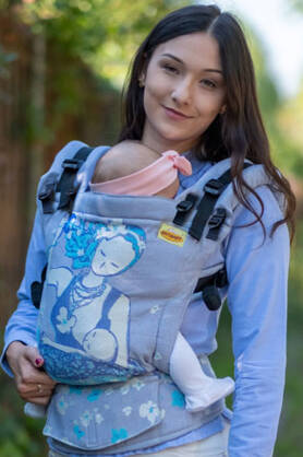 Breastfeeding Sitting Mama Pastel, NatiGrow Adjustable Carrier, [90% cotton, 10% polyester]