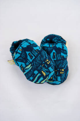Slippers Starry Night Houses, [100% cotton]