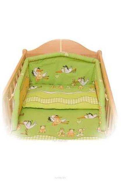 Storks in green Seersucker bedclothes (3 pieces set)
