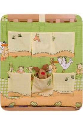 Storks in green seersucker bedclothing(NATIBABY hanging pocket)