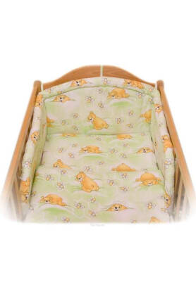 Teddies and bees in green (NATIBABY bumper pad)