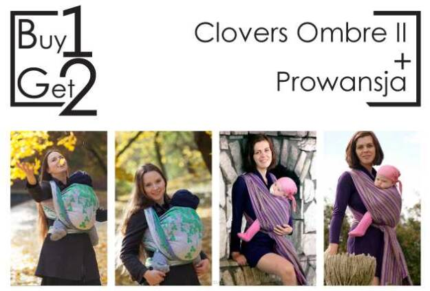 Buy1Get2 Clovers Ombre II 5.2 + Prowansja RING L baby wrap, baby wraps, babywearing, wrap, wraps, for children, for child, sling, slings, baby sling, baby slings