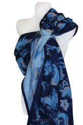 Foxes Blue, RING SLING, gath.shoul., [100% cotton]