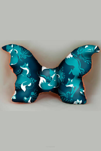 Pillow Natillon Foxes Blue