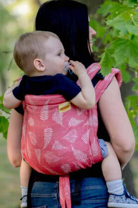 BABY Ferns Red, ONBUHIMO CARRIER, [50% linnen, 50% cotton]