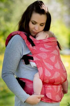 Ferns Red, NATIGO CARRIER [50% cotton, 50% linen]
