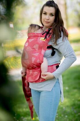 Ferns Red; Violet, NatiGrow Adjustable Carrier, [50% cotton, 50% linen]